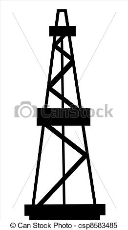 Stock Illustrations of Oil and gas derrick abstract silhouette on.