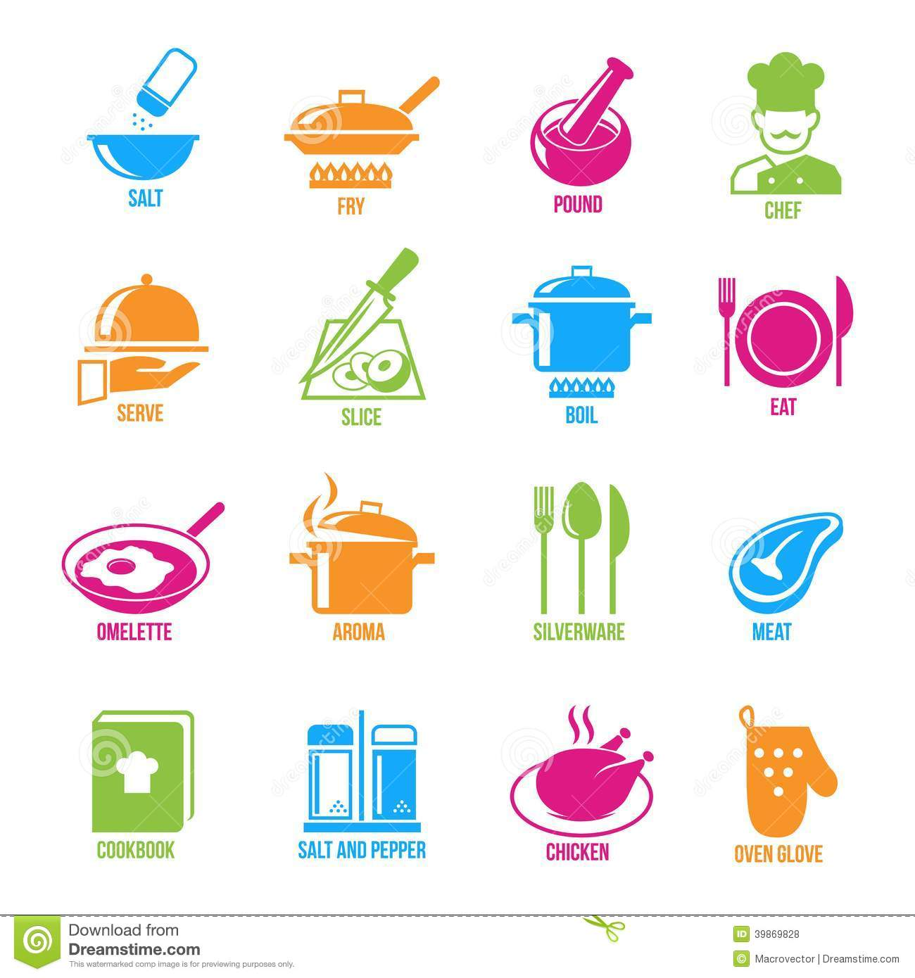 Cooking Icons Set Stock Vector.