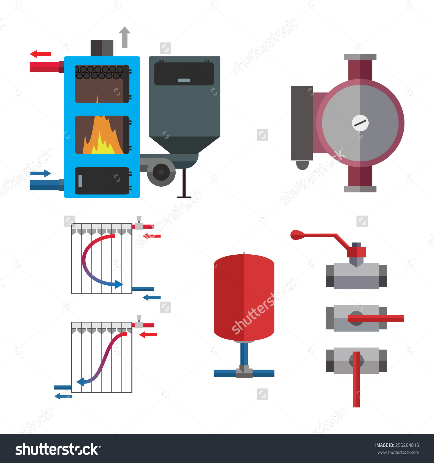 Solid Fuel Boiler Plumbing Set Some Stock Vector 255284845.