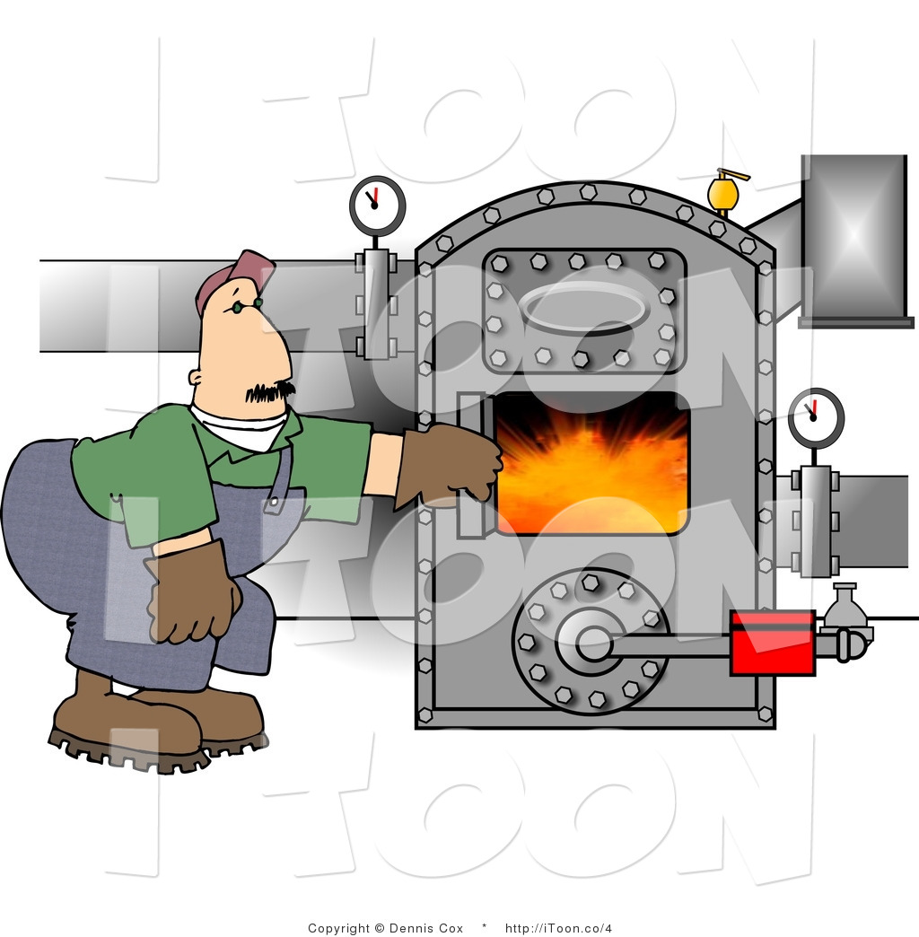 Cartoon Man Working in a Boiler Room by Dennis Cox.