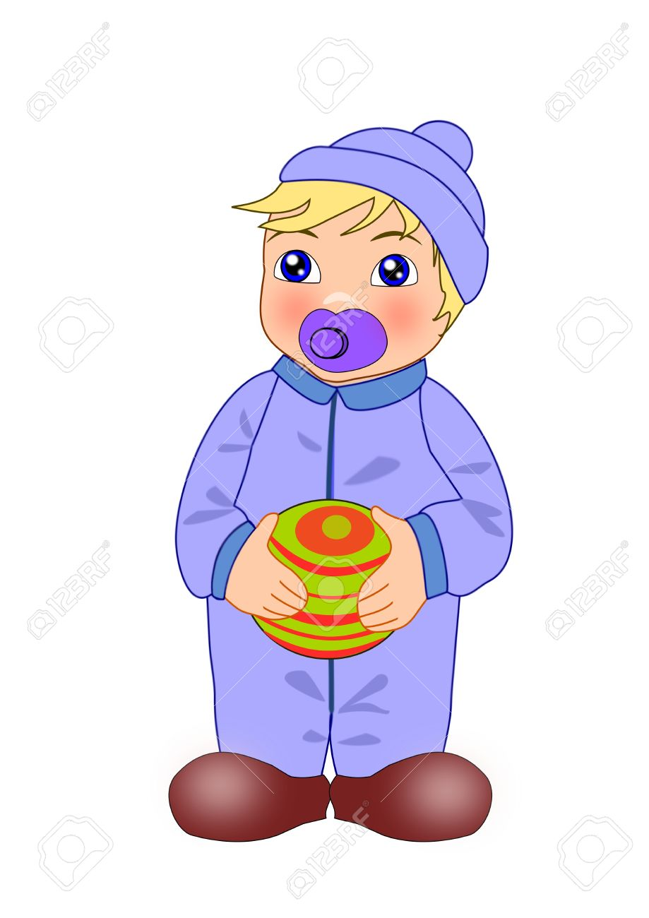 Toddler Boy In Boiler Suit With Dummy Holding A Ball Stock Photo.