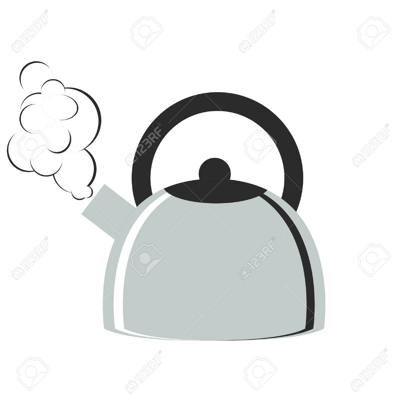 Metal boiling kettle with smoke.