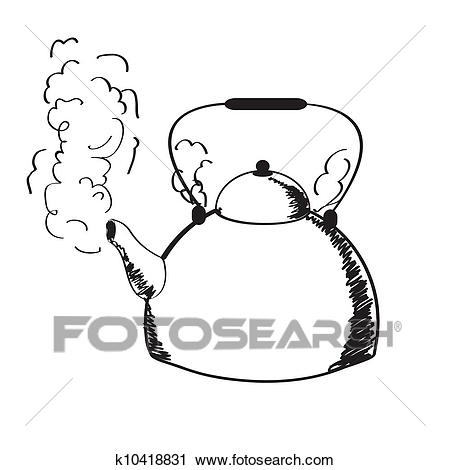 A boiling kettle and steam. Clipart.