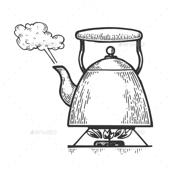 Boiling Kettle Teapot Engraving Style Vector.