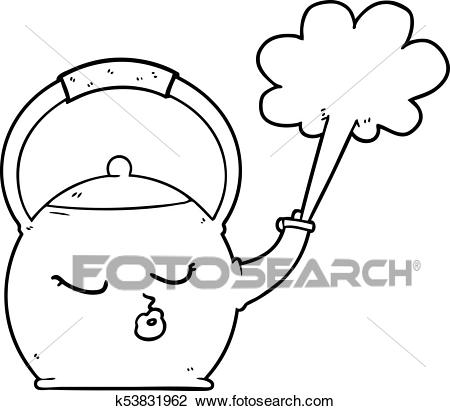 Cartoon boiling kettle Clipart.