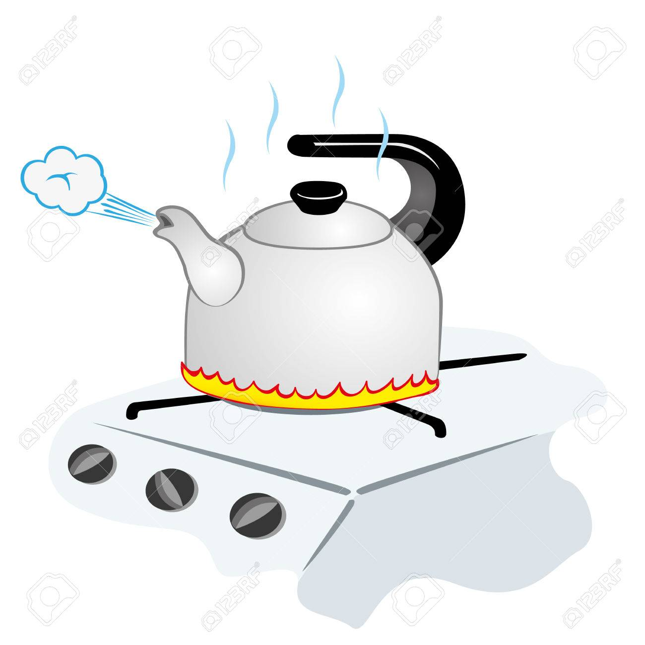 Illustration representing a kettle with boiling water on the...