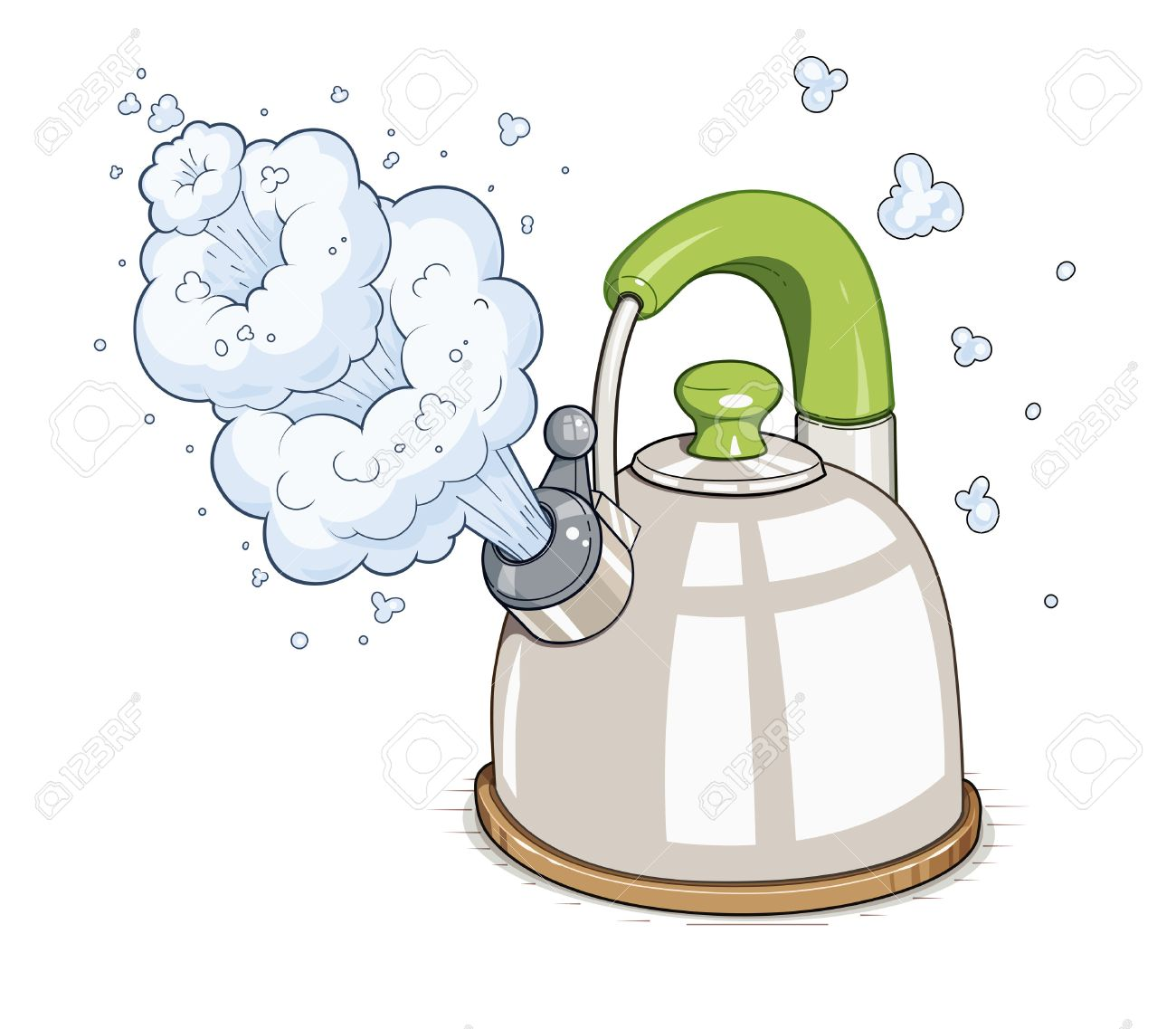 Kettle boil. illustration. Isolated on white background.