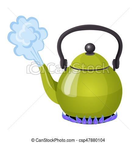 Boiling water in aluminium kettle on gas flame realistic vector illustration.