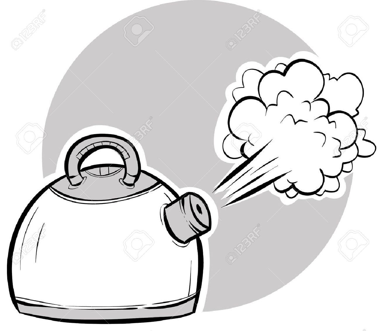 Steam blasting from a boiling, cartoon kettle..