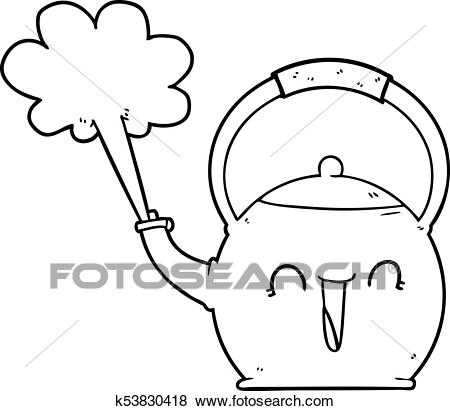 Cartoon boiling kettle Clip Art.