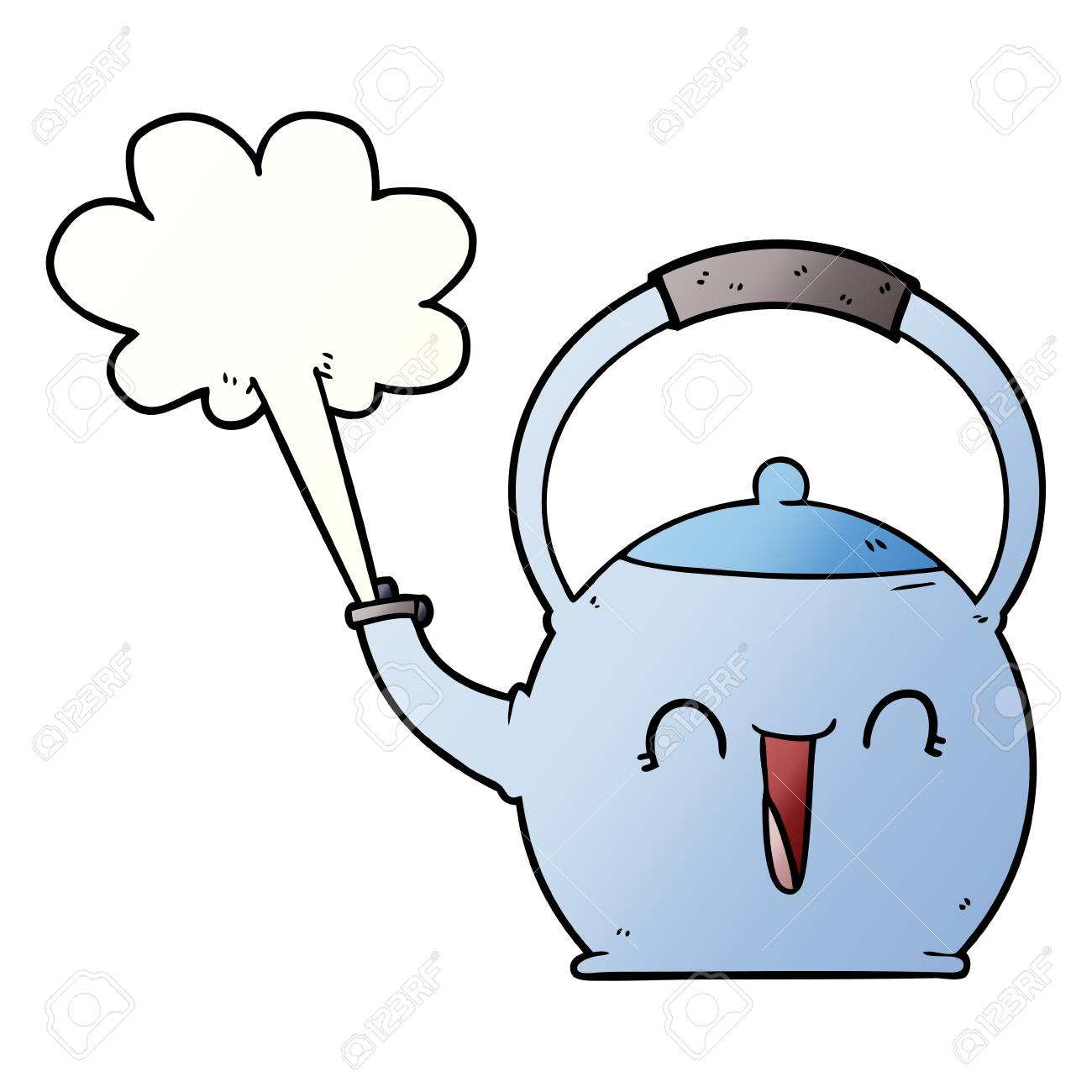 Cartoon boiling kettle.