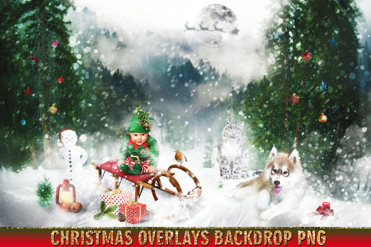 150 Christmas, overlays, photoshop PNG clipart backdrop.