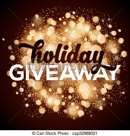 Vector Illustration of Holiday giveaway card with bokeh effect at.
