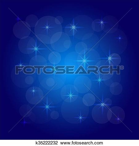 Clipart of Vector picture of the bokeh effect with stars on a blue.