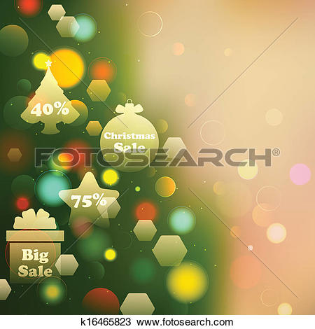 Clipart of Christmas Offer on Bokeh Effect Background k16465823.