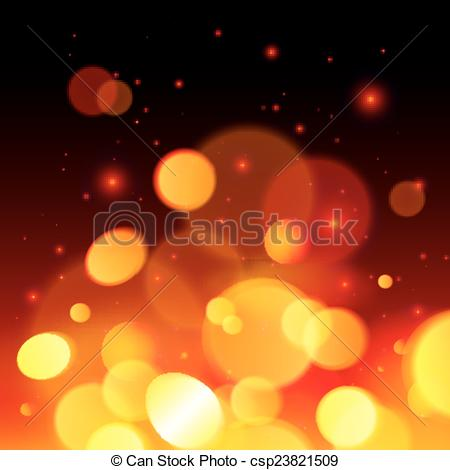 Vector Clipart of Bright bokeh effect fire abstract background.