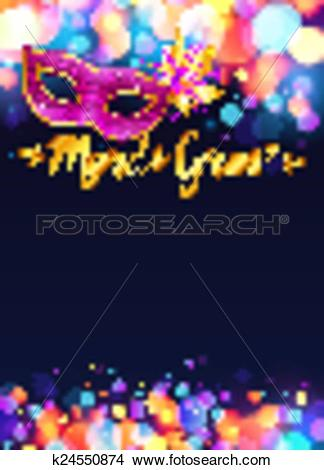 Clipart of Bright Mardi Gras poster template with bokeh effect.