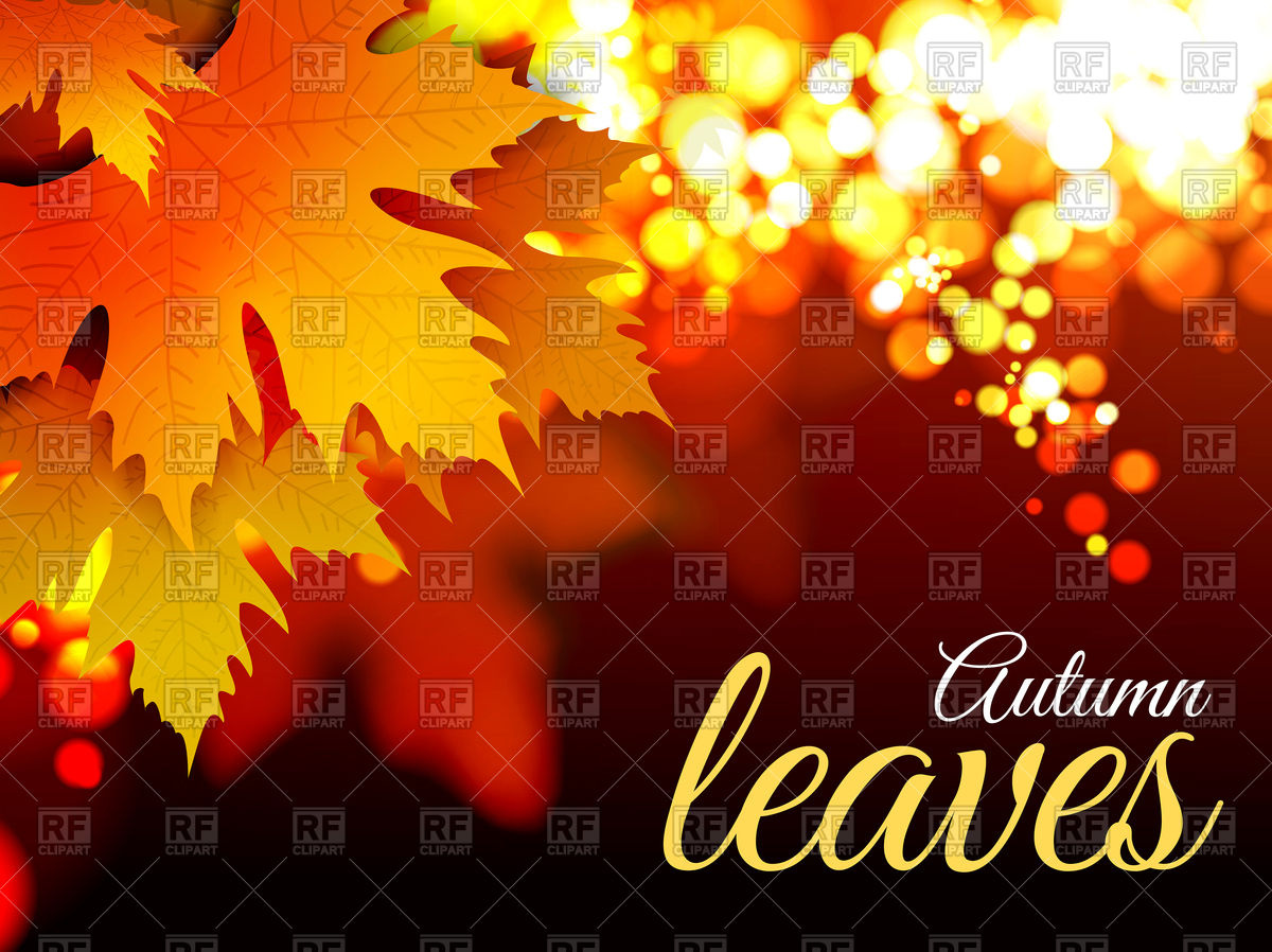 Autumn leaves background with bokeh effect Vector Image #74734.