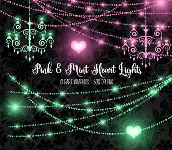 Pink and Mint Heart String Lights clipart, chandeliers, valentine bokeh  overlays.