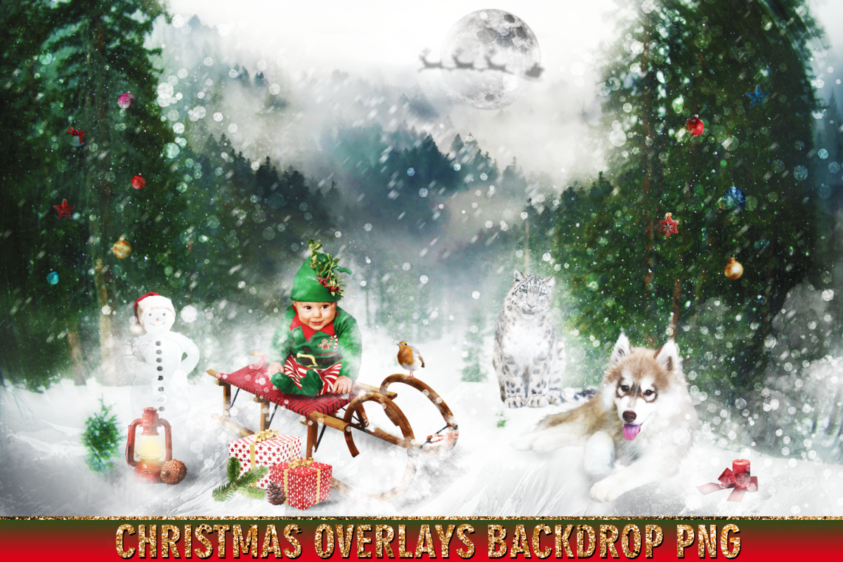 150 Christmas Overlays Photoshop Clipart Bundle.