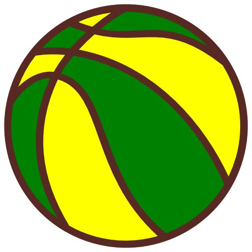Bola De Basquete Verde E Amarela Clipart.