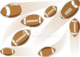 Bola DE Futebol Americano Voando imagens vetoriais.