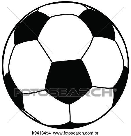 Bola futebol, silueta, isolamento Clipart.