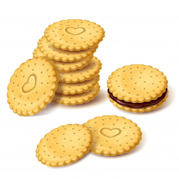 Biscoitos de biscoito ou cracker com vetor de creme.
