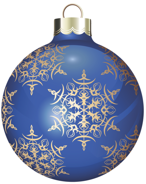 Transparent Blue and Gold Christmas Ball Clipart.