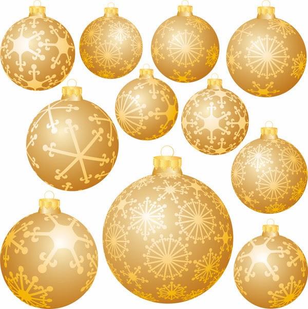 Vector Clipart: Bolas navideñas doradas.