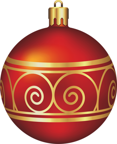 Large Transparent Red and Gold Christmas Ball.