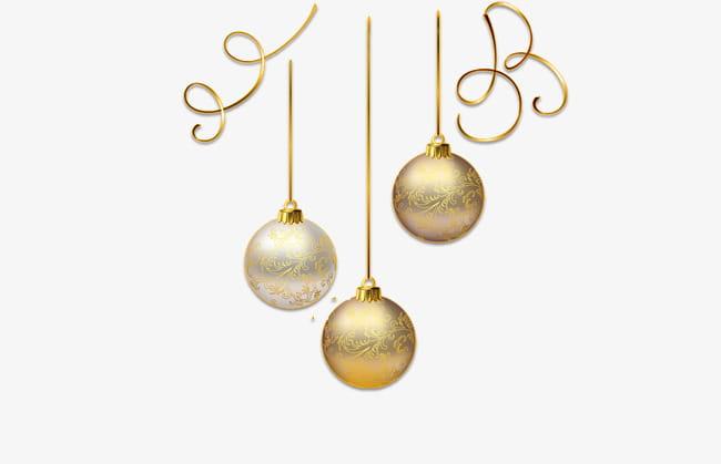 Bola de navidad dorada PNG Clipart.