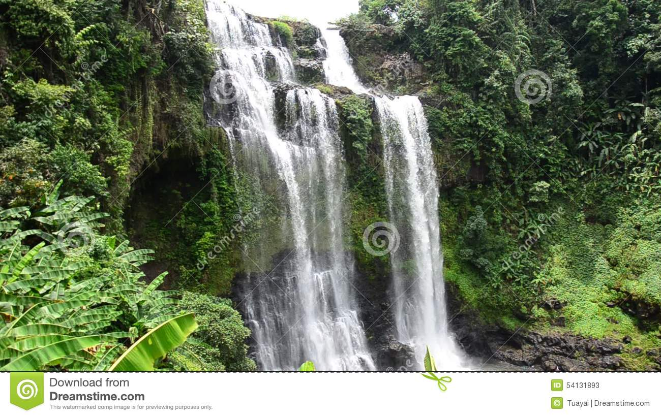 Tad Yeang Waterfall At Bolaven Plateau In Paksong, Laos Stock.
