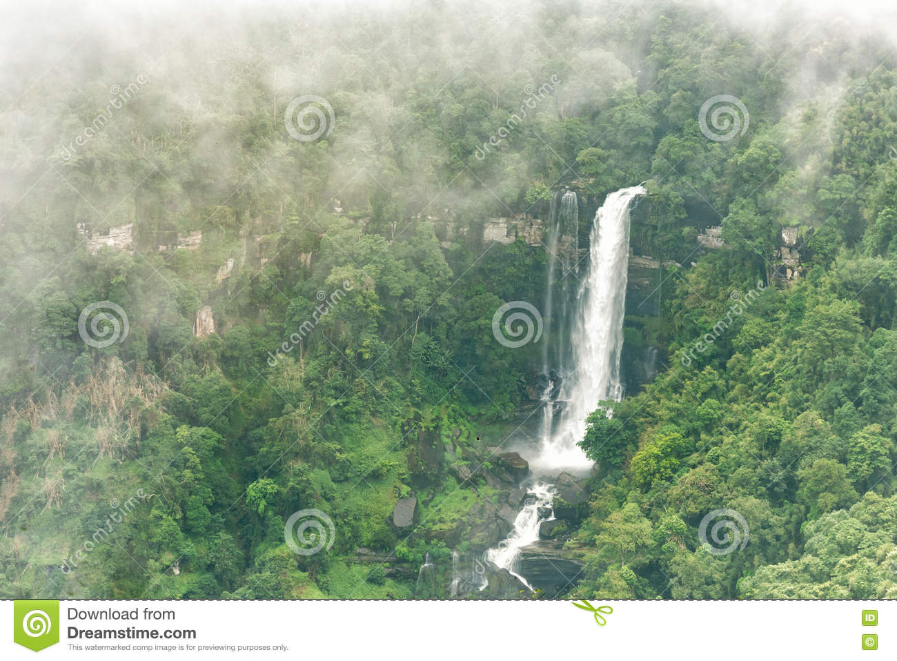 Top View Of Tad Sua Waterfall, A Big Waterfall In Deep Forest At.