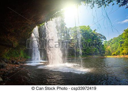 Stock Photography of Tat Cham Pee Waterfall, Bolaven plateau.