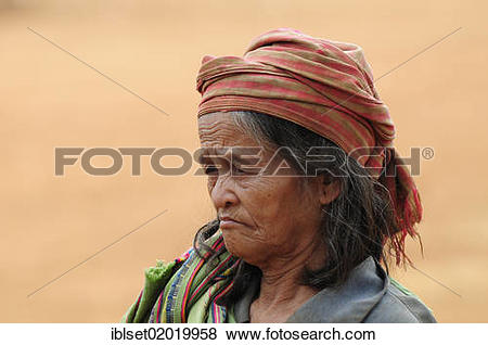 """Pictures of """"Old woman wearing a head scarf, portrait, Bolaven."""