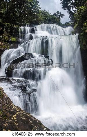 Stock Image of Tat Tha Jet waterfall on Bolaven plateau in Laos.