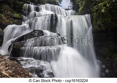 Stock Photo of Tat Tha Jet waterfall on Bolaven plateau in Laos.