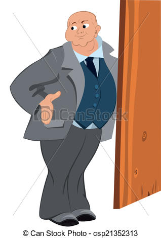 Vector Clip Art of Retro hipster bold man standing near the door.