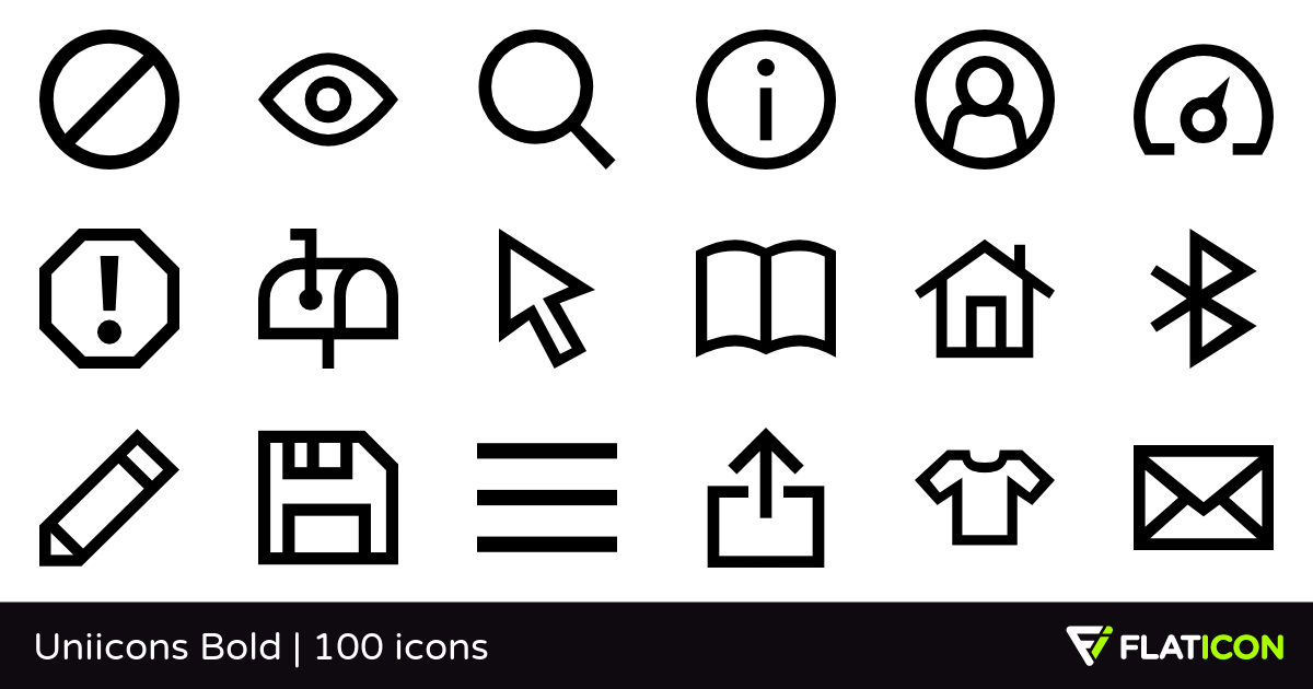 Uniicons Bold 100 free icons (SVG, EPS, PSD, PNG files).