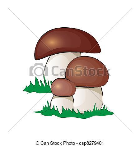 Clip Art of Boletus mushroom alphabet on white background.