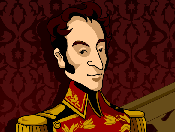 Simon bolivar map clipart.