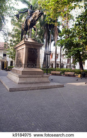 Stock Image of Statue founder Simon Bolivar in Bolivar Park Plaza.