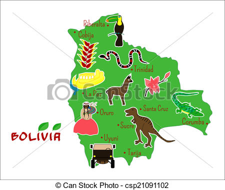 Vector Clipart of map of Bolivia with typical features.