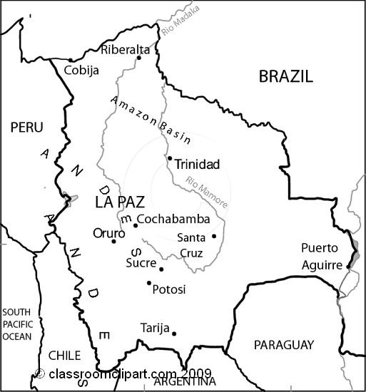 Bolivia black and white clipart.