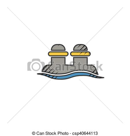 Vector Clip Art of mooring bollard icon on white background for.