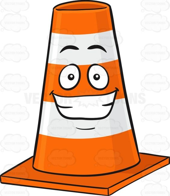 Traffic Cone Character With Big Cheesy Grin Emoji.