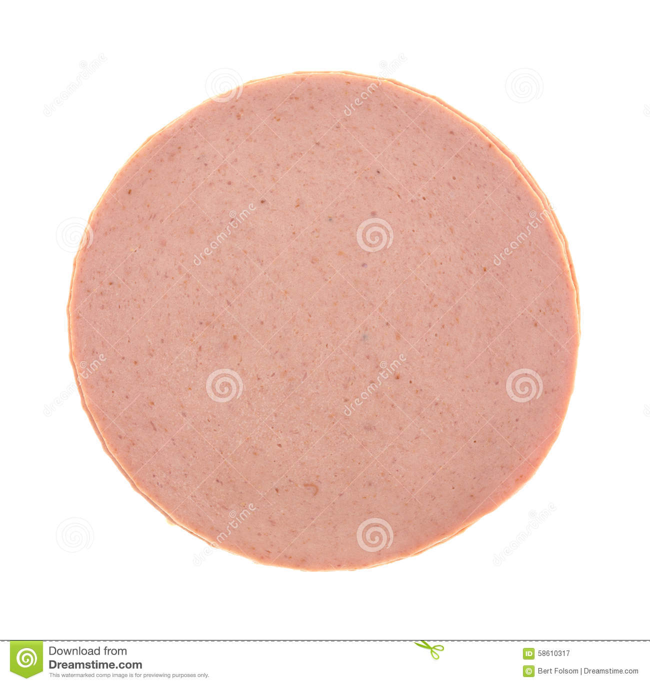 Top View Of A Stack Of Bologna Stock Photo.