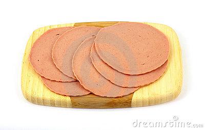 Slices Of Chicken Bologna Stock Photo.