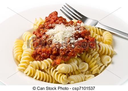 Picture of pasta with bolognese sauce with tomatoes, meat and.